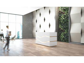 Exclusive white gloss wave design reception desk.