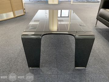 Used contemporary design black glass coffee table