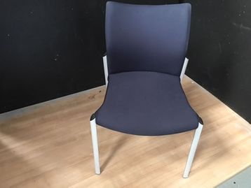 Excellent Senator 'Trillipse' meeting chairs without arms. Upholstered in dark blue fabric with silver legs