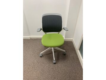 Used Steecase 'Cobi' chairs with mesh backs, grey trim and bright green upholstered seat.
