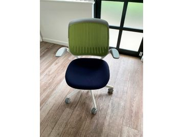 Used Steecase 'Cobi' chairs with mesh backs, grey trim and navy blue upholstered seat.