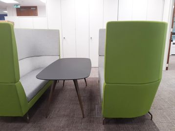 Fabulous used Orangebox 'CWTCH' high-back 3-seater office booth sofas in lime green and light grey upholstery.