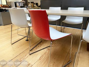 Excellent Used Arper 'Catifa 46' chairs with various coloured backs