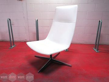 Used Arper Catifa 60 Lounge Chairs upholstered in white leatherette with chrome base