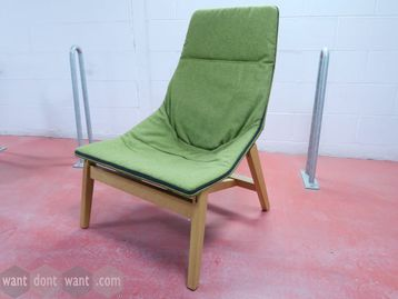 Used Viccarbe 'Ace' lounge chairs upholstered in green fabric with wooden legs