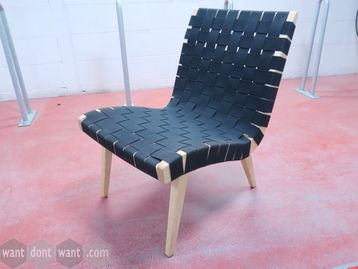 Used Knoll 'Risom' chairs with black cotton webbing seat and back