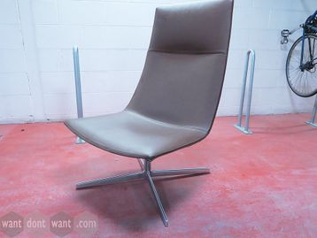 Used Arper Catifa 60 Lounge Chairs upholstered in brown leatherette with chrome base.