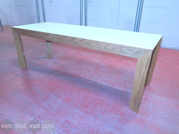 Used contemporary design low table with white top and oak frame