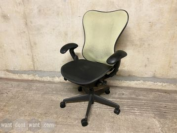 39 x Used Herman Miller 'Mirra' chairs with pale green mesh back, black mesh seat and black frame.
