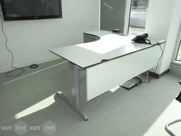 Used 1800mm 'Techo' slim-profile L-shaped desks with a desk-height pedestal