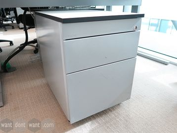Used 'Techo' under-desk silver mobile pedestals with white tops