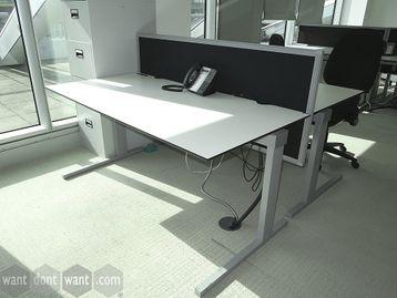 Over 200 x used 1600mm Freestanding White 'Techo' Rectangular Desks