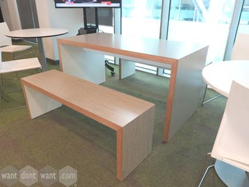 Used Senator Group Breakout Tables in Grey Oak with Mitred Edges