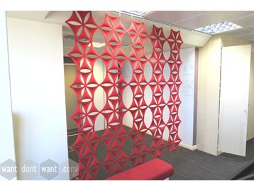 Acoustic Hanging Screens in red velvet finish