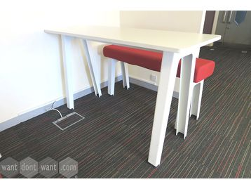 Used white high table with white mfc top and white metal legs