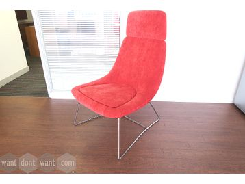 Used high-back chairs upholstered in suede fabric with chrome rod base