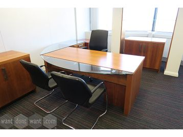 A Used Executive Cherry Veneer Suite - price below includes ALL items in the suite.