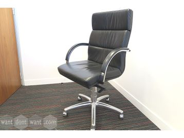 Used high quality Italian black leather meeting/boardroom chairs manufactured by 'Donati'