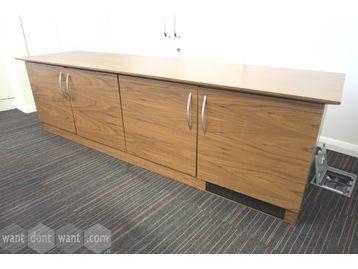 Large 4-door walnut credenza unit