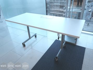 Used 1600mm White Flip-top Folding Table with inset Power Module