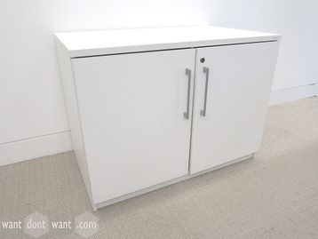 Used White MFC Desk Height Double Door Cupboard with Shelf
