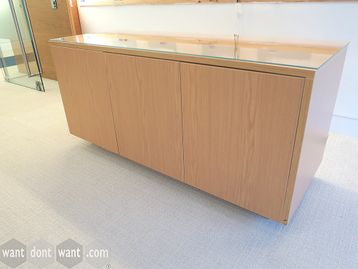 Used Credenza with Glass Top and Touch-Latch Doors
