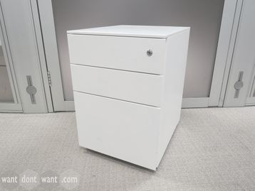 Used Steel White Under Desk Mobile Pedestal