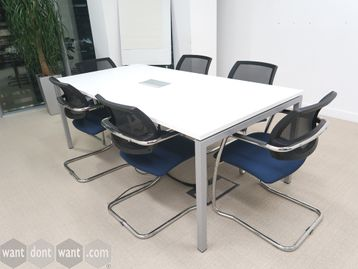 Used 2000mm White Meeting Table with Power Module
