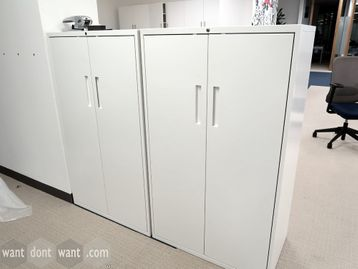 Used White Mid Height Double Door Storage Cupboards