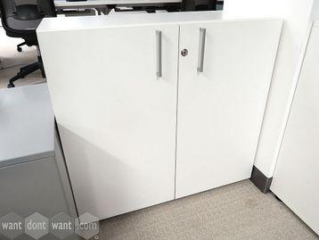 Used White Desk Height Double Door Storage Cupboard
