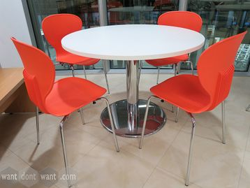 Used White Circular Table with Chrome Column Base