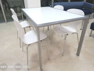 Used 1400mm Canteen Table with Glass Top