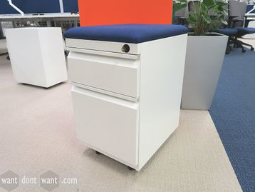 Used White Steel Under Desk Pedestal with Removable Fabric Cushion