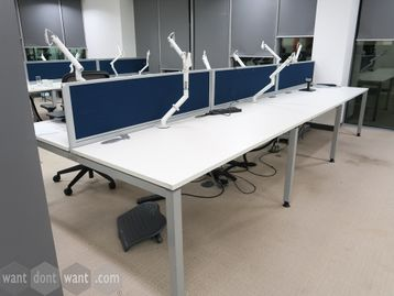 Used 1400mm Tangent 'Svelte' White Bench Desks