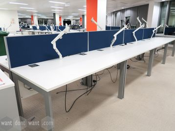 Used 1400mm White Single Desks with Shared Dividing Screen