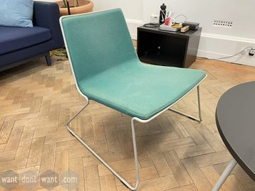 3 x Used Johansen 'Speed EC' chairs and 1 x black circular coffee table being sold as a set.