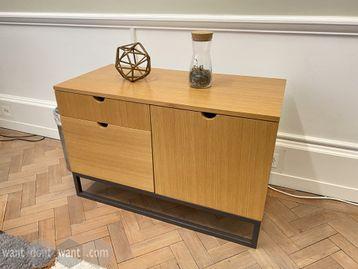 Used Oak veneer storage cupboard with metal frame