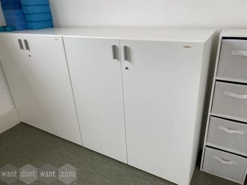 Used white double door storage cupboards