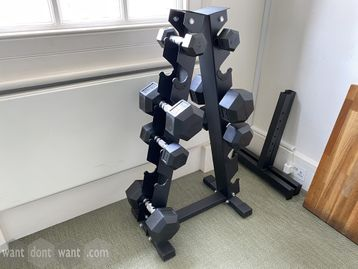 Used Dumbbells and triangular stand