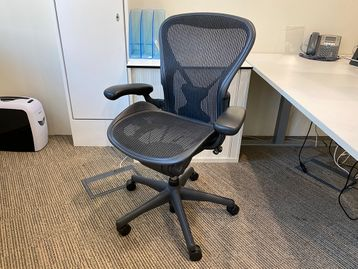 The iconic Herman Miller 'Aeron' chair with 'Posturefit' lumber support.