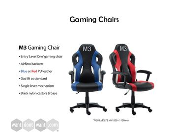 Fab entry level brand new gaming chairs available in red or blue