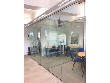 An example of a recent glass partitioning installation including all full height panels and doors.