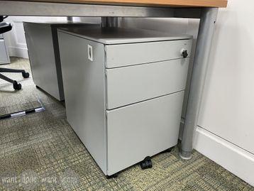 Used grey under-desk 3-drawer mobile pedestals