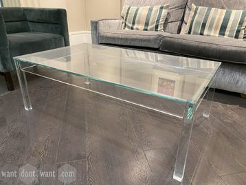Used high quality glass tables with glass legs