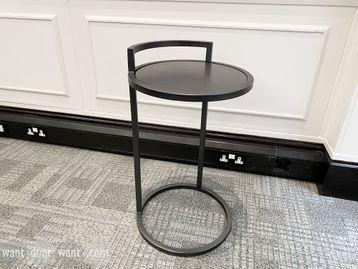 Used black metal telephone side table