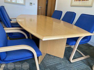 Used maple veneer barrel-shaped meeting table 2200mm wide x 1200mm deep