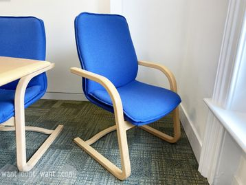 Used high-back meeting chairs with maple cantilever frame