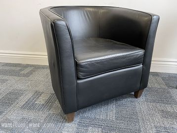 Used 'Boss' black leather tub chairs