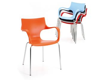 Bright vibrant stacking chairs with chrome legs
