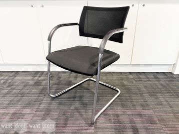 Used Bene 'B_Cause' stacking chair with mesh back and chrome cantilever frame.